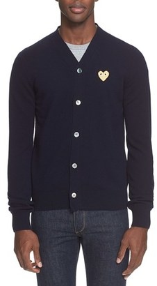 Men's Commes Des Garcons Play Wool V-Neck Cardigan $378 thestylecure.com