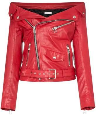 Faith Connexion off-shoulder zipped leather jacket