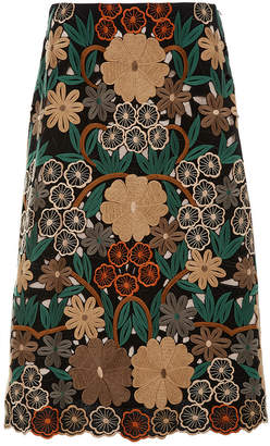 RED Valentino Floral Embroidered Pencil Skirt