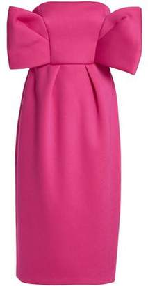 DELPOZO Strapless Bow-Embellished Neoprene Dress