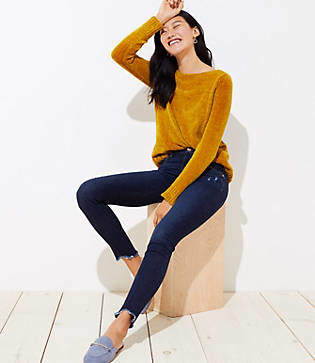 LOFT Petite Modern Frayed Skinny Jeans in Dark Indigo Wash