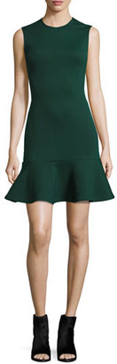 McQ Alexander McQueen Sleeveless Ponte Flounce Dress, Evergreen $485 thestylecure.com
