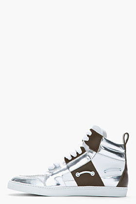 DSquared DSQUARED2 Metallic silver and brown leather techno boat sneakers