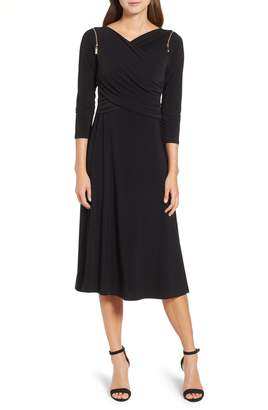 Chaus Zip Shoulder Ruched Surplice Dress