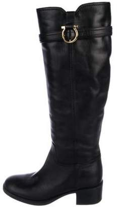 Salvatore Ferragamo Leather Knee-High Boots Black Leather Knee-High Boots