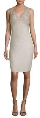 St. John Metallic V-Neck Dress