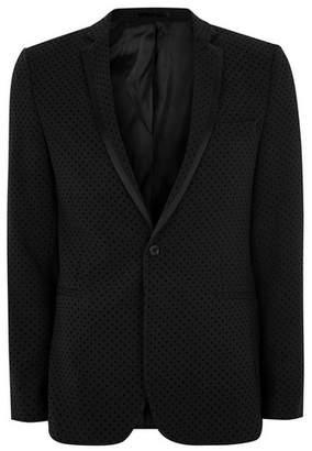Topman Mens Black Dotted Ultra Skinny Suit Jacket