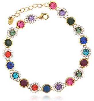 Swarovski Ananth Jewels Crystal Rhinestone Charm Colorful Gold Plated Bracelet for Women