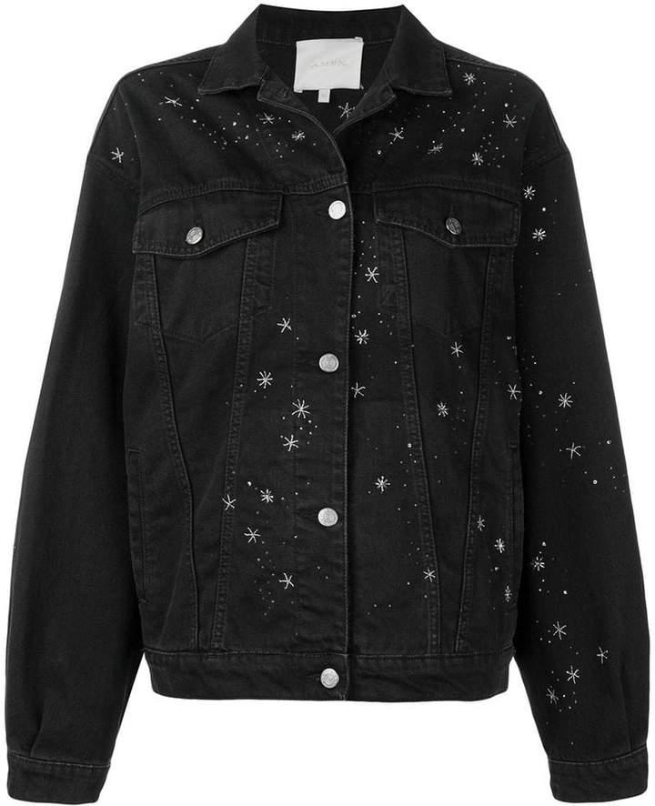 bead embroidered denim jacket