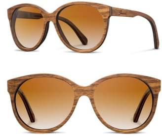 Shwood 'Madison' 54mm Round Wood Sunglasses