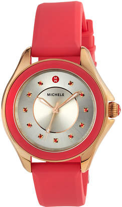 Michele 40mm Two-Tone Cape Topaz Watch with Silicone Strap, Coral