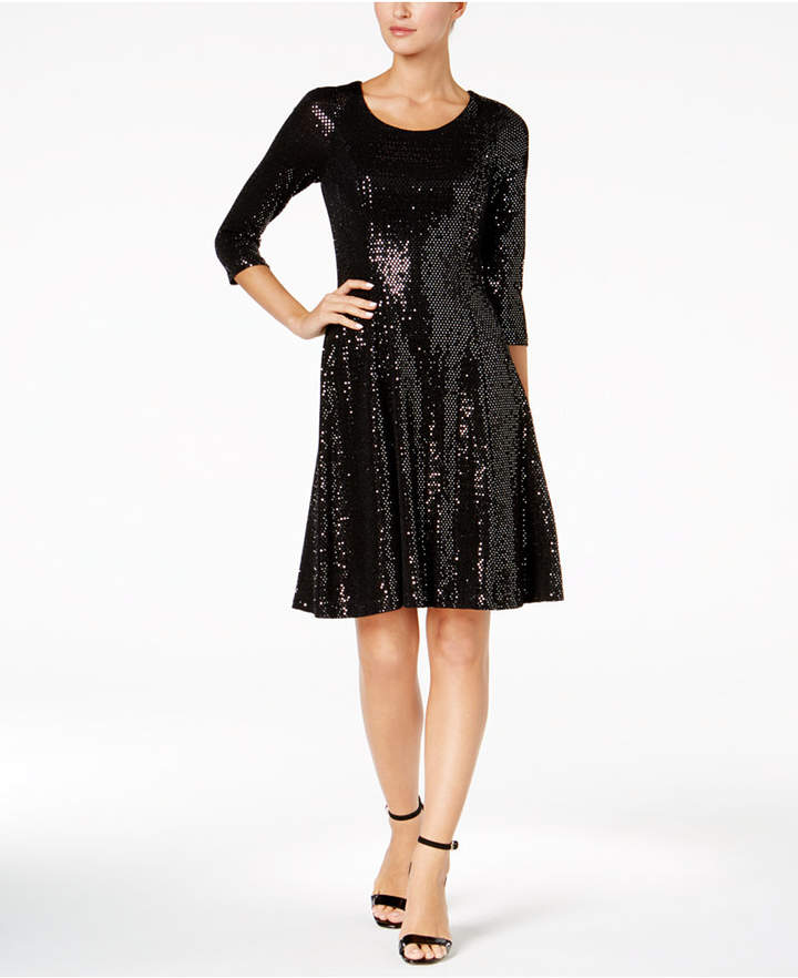 Calvin Klein Sequined Fit & Flare Dress, Regular & Petite Sizes, A Macy's Exclusive Style