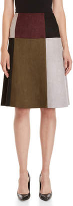 YAL New York Color Block Faux Suede A-Line Skirt