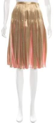 Lafayette 148 Silk Pleat-Accented Skirt