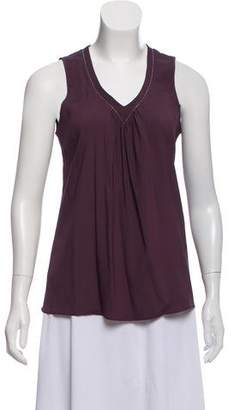 Brunello Cucinelli Silk Sleeveless Monili-Trimmed Top