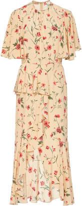 Michael Kors Ruffled Floral-Print Silk-Crepe Midi Dress Siz