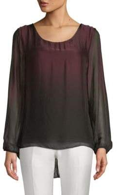 Ombre High-Low Silk Blouse