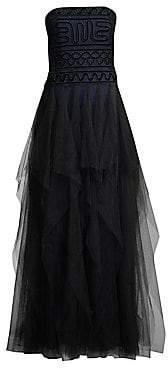 BCBGMAXAZRIA Women's Strapless Velvet Lace and Tulle Dress