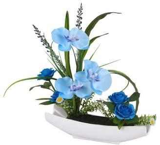 Ebern Designs Orchid Floral Arrangement in Pot
