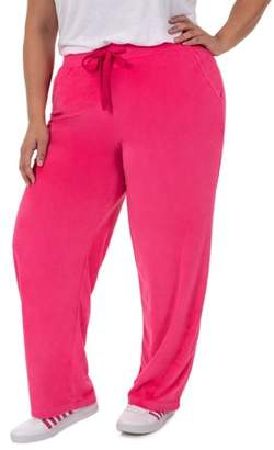 Athletic Works Women's Plus Size Velour Pant with Pockets