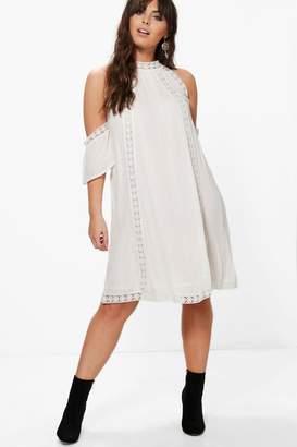 boohoo Plus Crochet Lace Open Shoulder Shift Dress