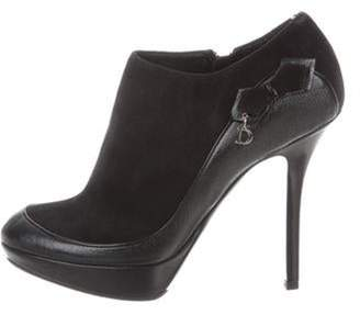 Christian Dior Suede Round-Toe Booties Black Suede Round-Toe Booties