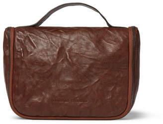 Brunello Cucinelli Textured-Leather Hanging Wash Bag