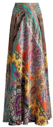 Etro Milano Paisley Print Silk Maxi Skirt - Womens - Multi