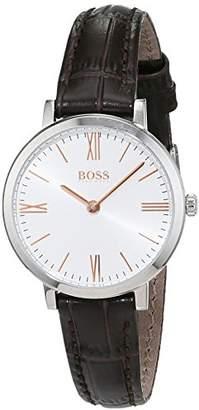 HUGO BOSS Jillian Womens Quartz Silver Analogue Classic Brown Leather Strap 1502393