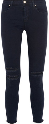 J Brand - Distressed Mid-rise Skinny Jeans - Dark denim $220 thestylecure.com