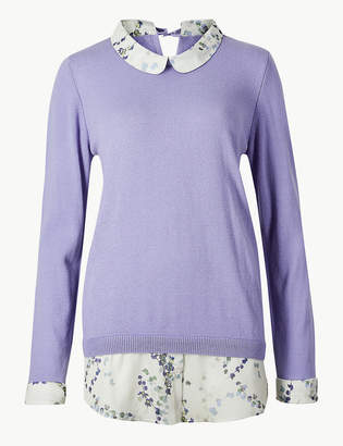 Marks and Spencer Woven Hem Peter Pan Collar Jumper