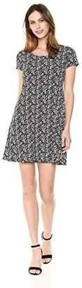 MSK Women's Knit Short Sleeve Vine Printed T-Shirt Dress