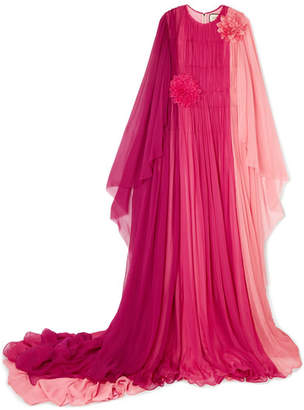 Appliquéd Color-block Silk-mousseline Gown - Pink