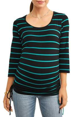 Oh! Mamma Maternity Stripe Side Cinch Tunic - Available in Plus Sizes