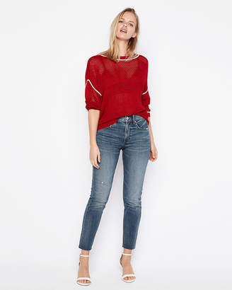 Express Contrast Stitch Pullover Sweater