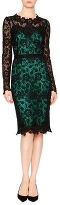 Dolce & Gabbana Long-Sleeve Lace Dress W/Contrast Slip, Black/Green $4,295 thestylecure.com