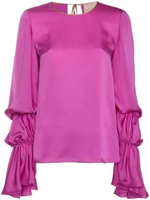 Roksanda Nezu Silk top with ruched sleeves