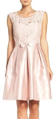 Women's Ellen Tracy Mixed Media Fit & Flare Dress $178 thestylecure.com