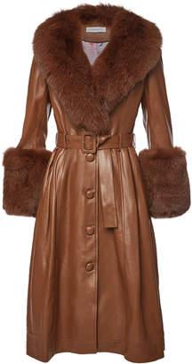 Saks Potts Foxy Walnut Leather Coat with Fox Fur