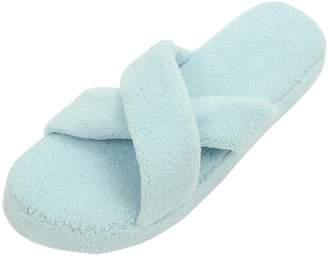 47e77e114 Home Slipper Womens Soft Coral Fleece Plush Cross Strap Open Toe Non-Slip  Slide Scuff