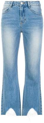 Sjyp distressed hem cropped jeans