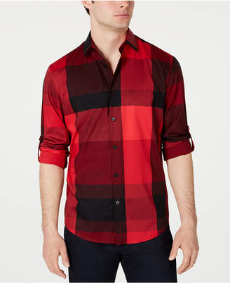 Alfani Men Large Plaid Utility Shirt