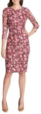Kensie Dresses Three-Quarter Sleeve Floral Sheath Dress