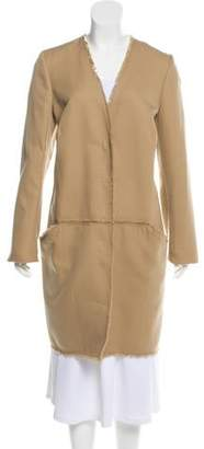 Wes Gordon Fringe-Trim Knee-Length Coat