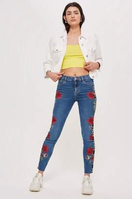 Topshop MOTO Floral Logo Stripe Jamie Jeans