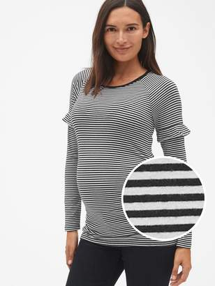Gap Maternity Featherweight Stripe Long Sleeve Ruffle-Trim Top