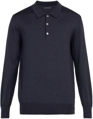 THOM SWEENEY Long-sleeved merino wool polo shirt