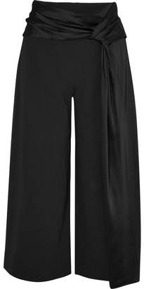 Jonathan Simkhai Belted Cropped Crepe And Satin Wide-leg Pants - Black