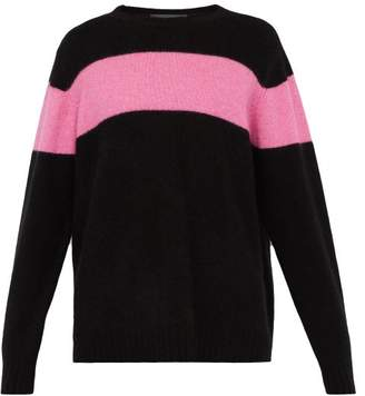 The Elder Statesman Racing Intarsia Stripe Cashmere Sweater - Mens - Black