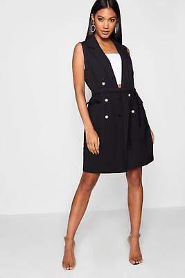 Jade Pearl Button Sleeveless Blazer Dress